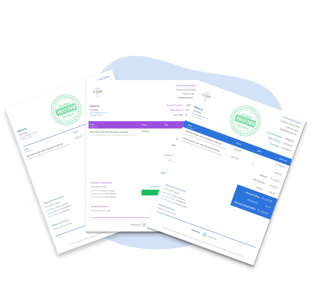 picture showing multiple templates for invoicing for small business