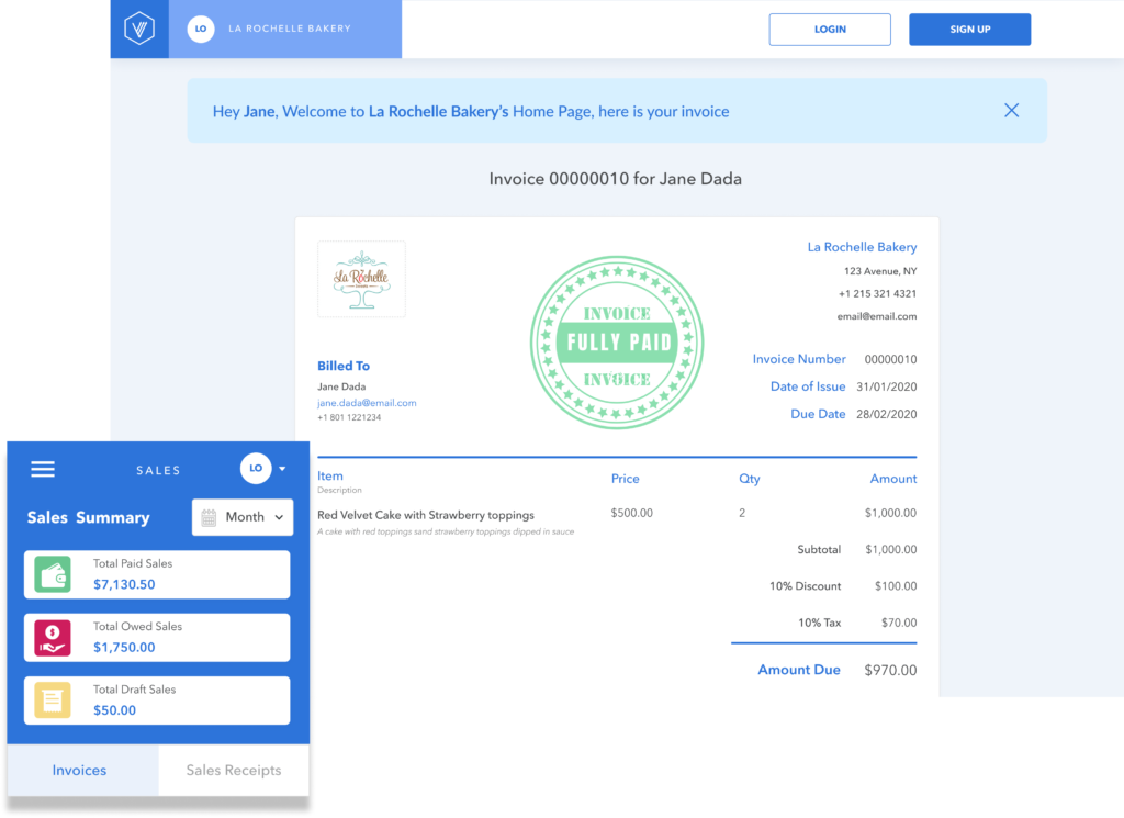 create a invoice with free invoicing app from Vencru