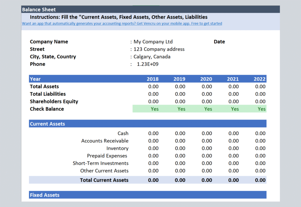 Simple Balance Sheet Templates Vencru