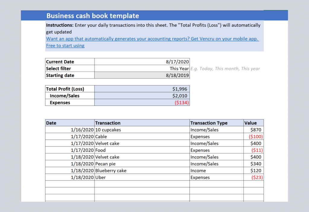 excel cash book template by Vencru