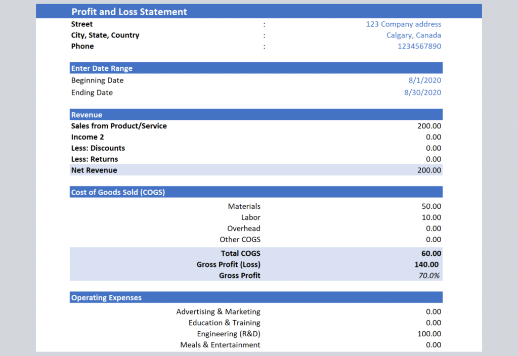Profit & Loss statement templates | Available in Excel